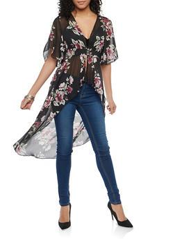 Floral Chiffon High Low Maxi Top - 1008015997061