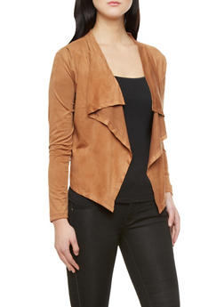 Plus Size Vegan Brushed Faux Suede Open Drape-Front Cropped Cardigan,COGNAC,medium
