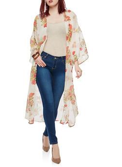 Floral Side Slit Duster - 1008038349320