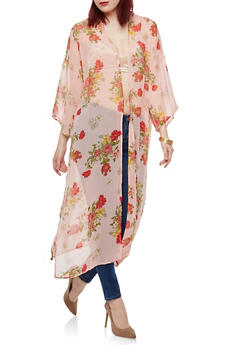 Floral Side Slit Duster - 1008038349320
