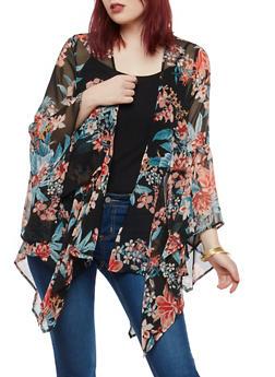 Bell Sleeve Floral Print Cardigan - 1008038349324