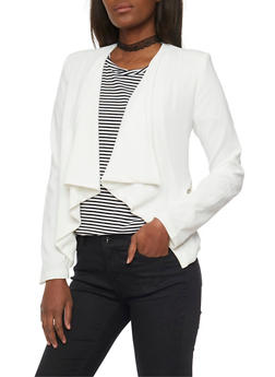 Solid Cropped Opened Front Blazer - IVORY - 1008051064554