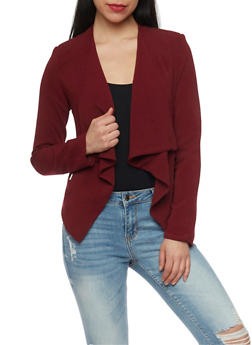 Solid Cropped Opened Front Blazer - OXBLOOD - 1008051064554