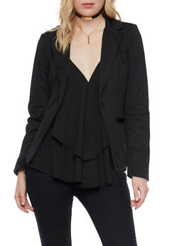 Solid Blazer with Striped Lining - BLACK - 1008051064671