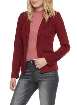 Solid Blazer with Striped Lining - OXBLOOD - 1008051064671