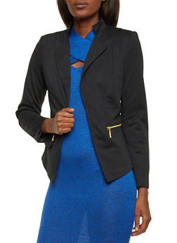 Zip Pocket Blazer with Open Front - BLACK - 1008051065166