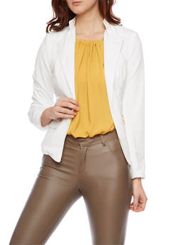 Zip Pocket Blazer with Open Front - IVORY - 1008051065166