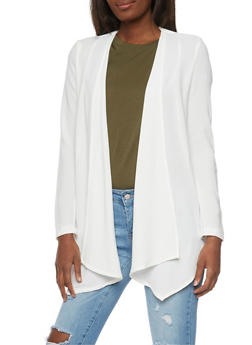 Long Sleeve Open Front Blazer - IVORY - 1008051065274