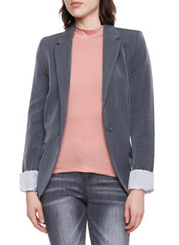 Solid Blazer with Striped Lining - CHARCOAL - 1008054261551