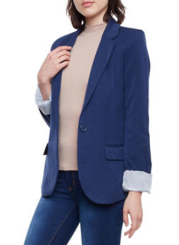 Solid Blazer with Striped Lining - 1008054261551