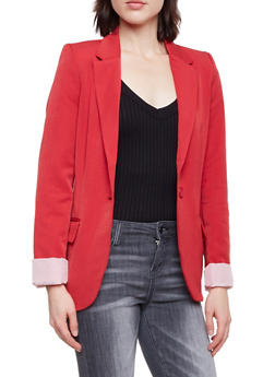 Solid Blazer with Striped Lining - B RED - 1008054261551