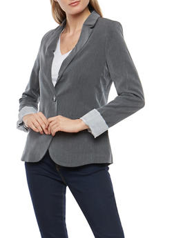 Striped Lining One Button Blazer - CHARCOAL - 1008054261552