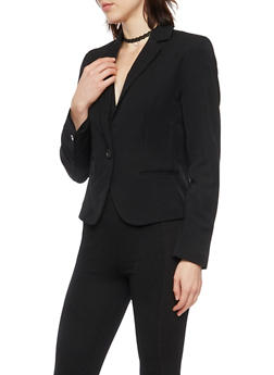 Blazer with Single Button Closure - BLACK - 1008054266576