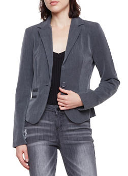 Blazer with Single Button Closure - CHARCOAL - 1008054266576