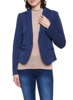 Blazer with Single Button Closure - NAVY - 1008054266576