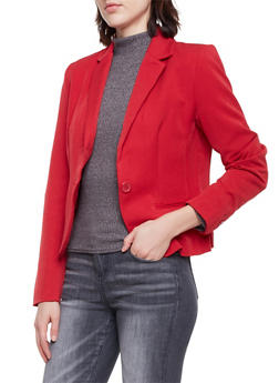 Blazer with Single Button Closure - RED - 1008054266576