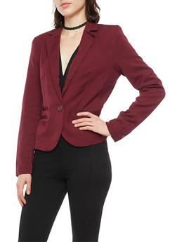 Blazer with Single Button Closure - 1008054266576
