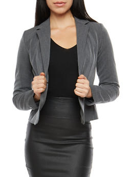 One Button Blazer with Seams - 1008054266577