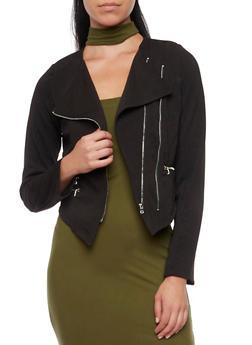 Asymmetrical Zip Front Jacket - BLACK - 1008058750002