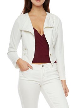 Asymmetrical Zip Front Jacket - WHITE - 1008058750002