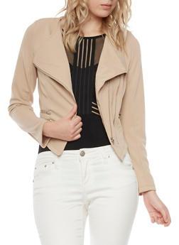 Asymmetrical Zip Front Jacket - MOCHA - 1008058750002