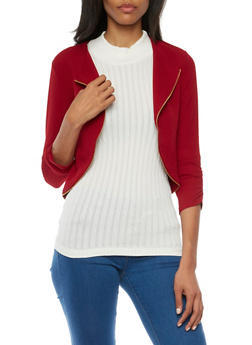 Cropped Knit Jacket with Zipper Trim - RED - 1008058750035