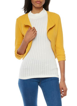 Cropped Knit Jacket with Zipper Trim - MUSTARD - 1008058750035