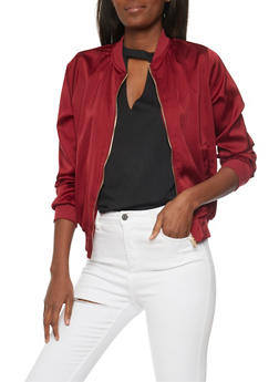 Satin Bomber with Rib Knit Trim - 1008058750067