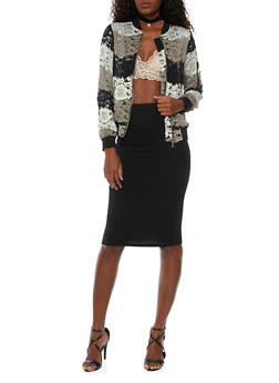 Bomber Jacket in Ornate Lace - 1008058750464