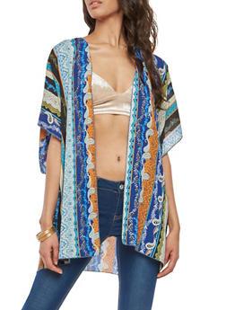 Border Print Kimono - 1008058750560