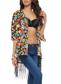 Floral Kimono with Fringe Detail - 1008058750567
