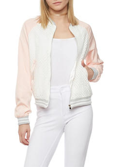 Eyelet Satin Bomber Jacket with Rib Knit Trim - 1008058750821
