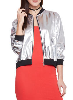 Zip Up Metallic Bomber Jacket - 1008058751084
