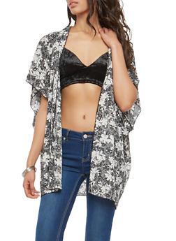 Black and White Floral Kimono - 1008058751562