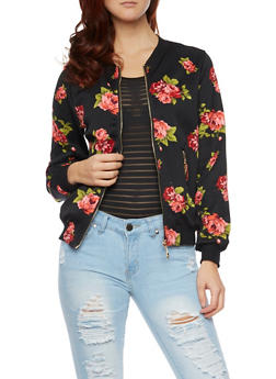 Bomber Jacket in Floral Knit - 1008058756320
