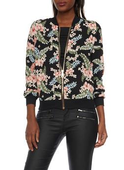 Bomber Jacket in Floral Print Crepe - 1008058756322