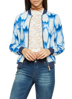 Bomber Jacket in Tie Dye Print - WHT/BLUE - 1008058756323
