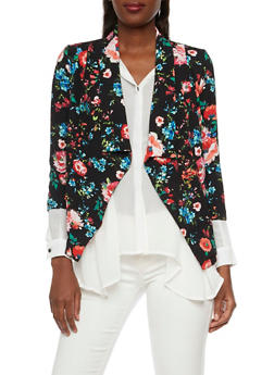 Blazer in Floral Print Crepe Fabric - 1008058756324