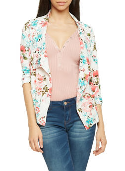 Blazer in Floral Print Crepe Fabric - IVORY - 1008058756324