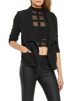 Textural Blazer with Draped Lapel - BLACK - 1008058756325