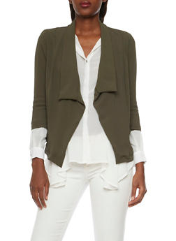 Textural Blazer with Draped Lapel - OLIVE - 1008058756325