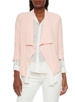 Textural Blazer with Draped Lapel - BLUSH - 1008058756325