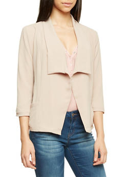 Textural Blazer with Draped Lapel - MOCHA - 1008058756325
