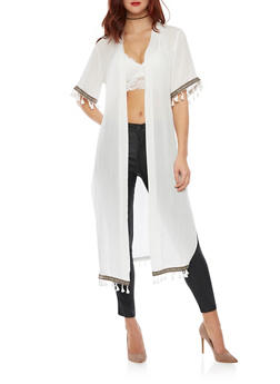 Vented Open Front Duster with Fringe - WHITE - 1008058756326