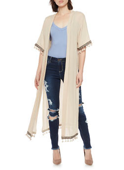 Vented Open Front Duster with Fringe - 1008058756326