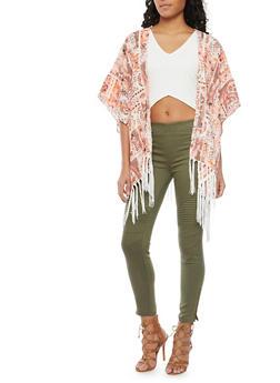 Patchwork Kimono Top with Fringe Trim - 1008058756327
