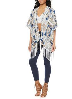 Patchwork Kimono Top with Fringe Trim - BLUE COMBO - 1008058756327