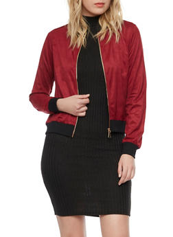 Bomber Jacket in Brushed Suede - BURGUNDY - 1008058756949
