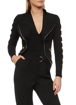 Zip Trim Jacket with Cutout Sleeves - 1008058758208