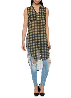 Gingham Tunic Top with High Low Hem - 1008067330708